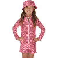 Cat & I Girls Rashie Rash Guard Set Long Sleeves with Swim Shorts & Hat UPF 50+ Pink Polka Dot 2-10 Years