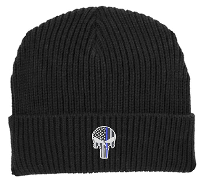 4436b3baab8 Thin Blue Line Punisher Skull with American Flag Support Police Law  Enforcement Winter Watch Cap Hat