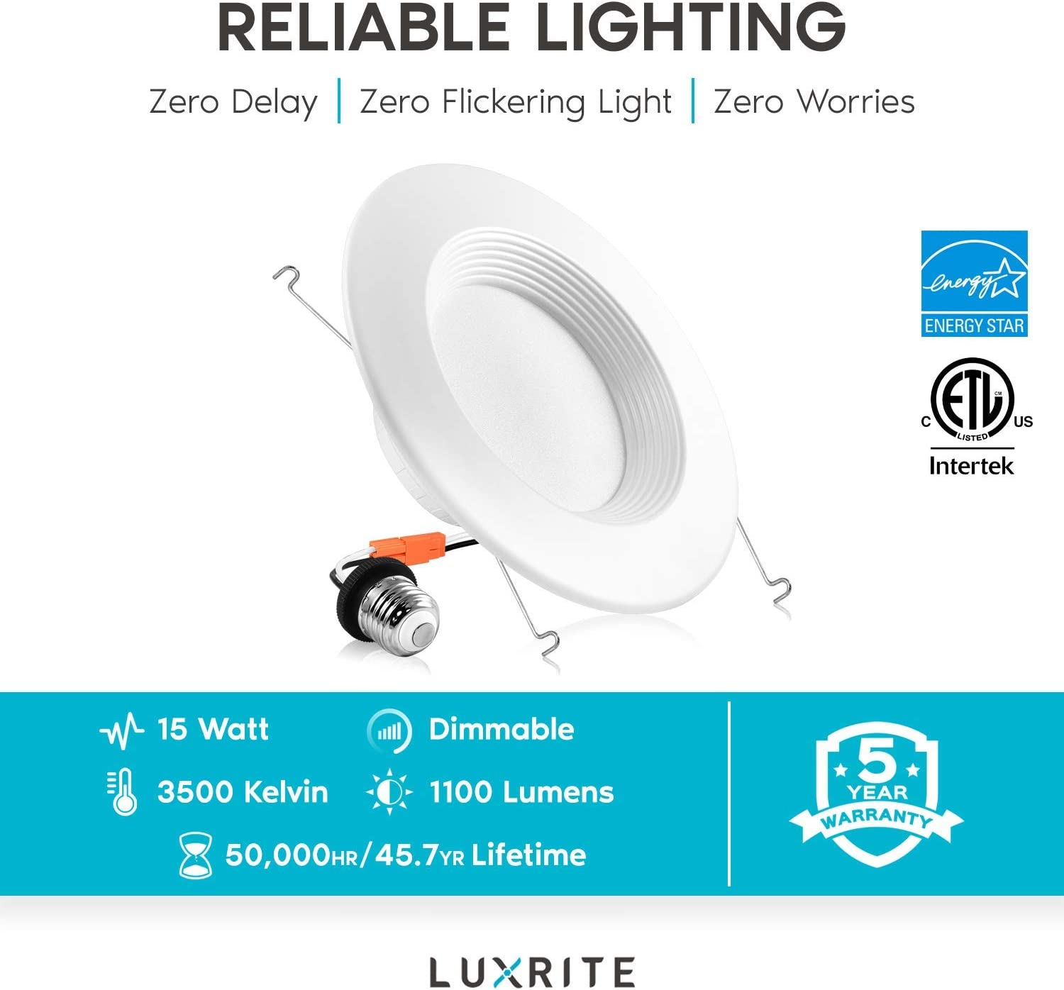 Luxrite 5//6 Inch LED Recessed Lights Dimmable Baffle Trim 1100 Lumens ETL Listed LR24887-12 Natural White DOB 12 Pack 15W IC /& Damp Rated Retrofit LED Downlight 120W Equivalent 3500K Energy Star