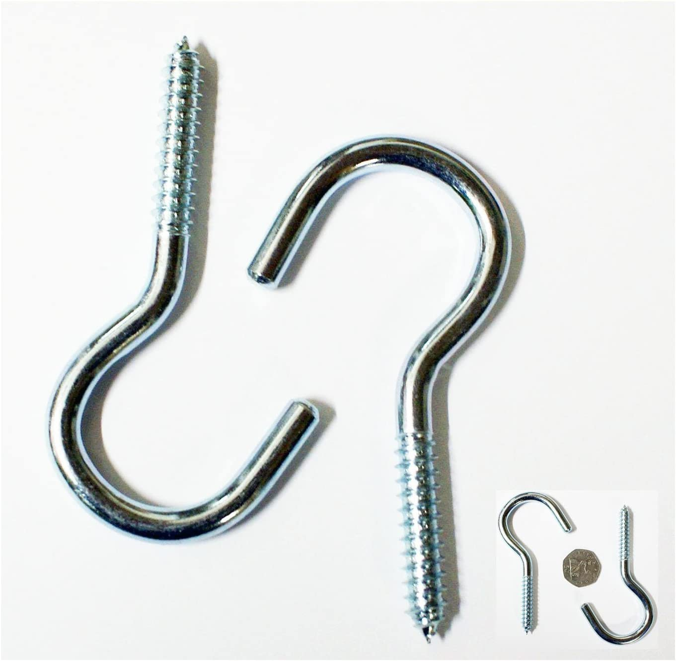 2x Large Strong Galvanised Metal Cleat Hooks 100mm
