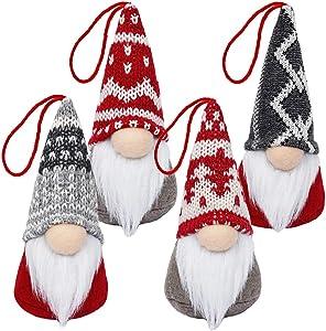 Baodlon Gnome Christmas Ornaments, Handmade Swedish Tomte Xmas Gnomes Plush Doll, Scandinavian Santa Elf Table Ornaments, Hanging Christmas Tree Decorations Home Decor (4 Pack)
