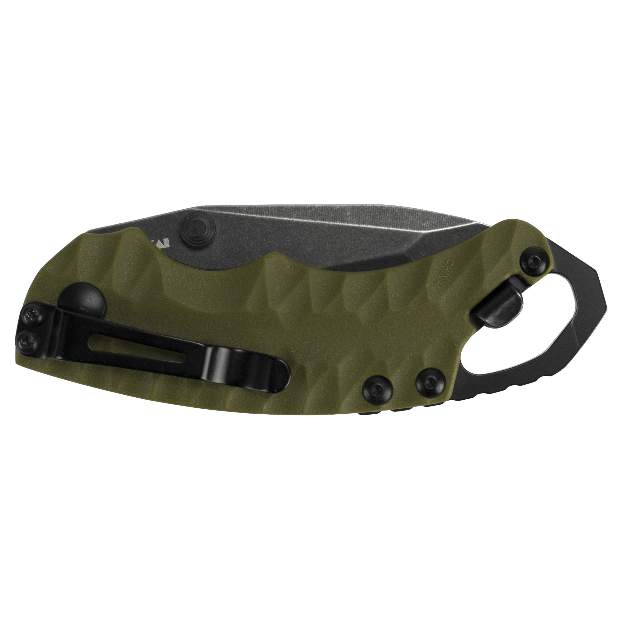 Kershaw Shuffle II Olive Multifunction Folding Pocket Knife (8750TOLBW), 2.6 In. 8Cr13MoV Stainless Steel Tanto Blade with Blackwash Finish and Reversible Pocketclip; 3 oz by Kershaw (Image #4)