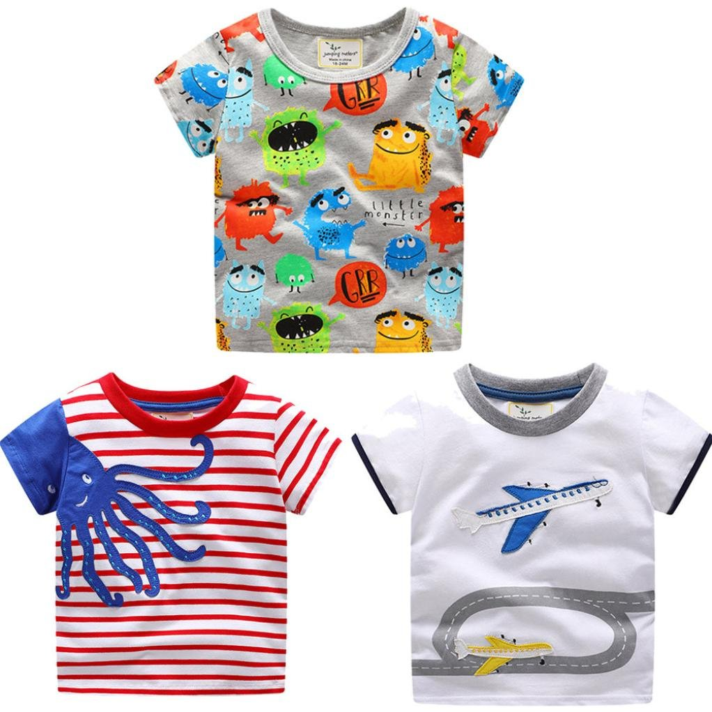KaloryWee Unisex Kids Boys Tops Pullovers Sweater Blouse Cartoon Blue Octopus Embroidery Stripe Short Sleeve T Shirts Jumpers Sweatshirt Clothes 1 2 3 4 5 6 Years