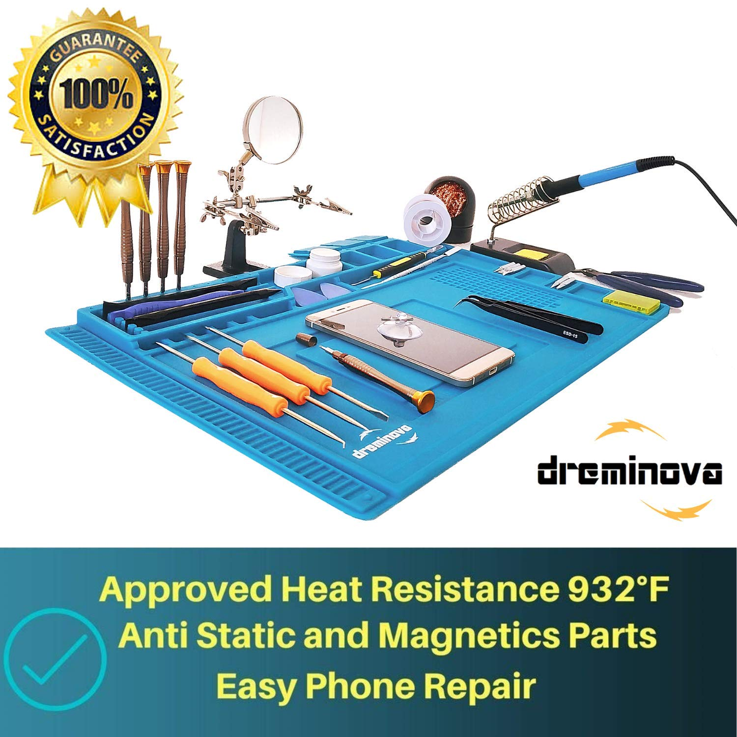 DREMINOVA Opening Pry Tool Kit Set with Anti-Static Silicone Soldering Mat Bars Tweezers and Spudgers Repair cell Smart Phone Toolkit Complete Open Pry Tools kit For Electronics PC Computer Laptop
