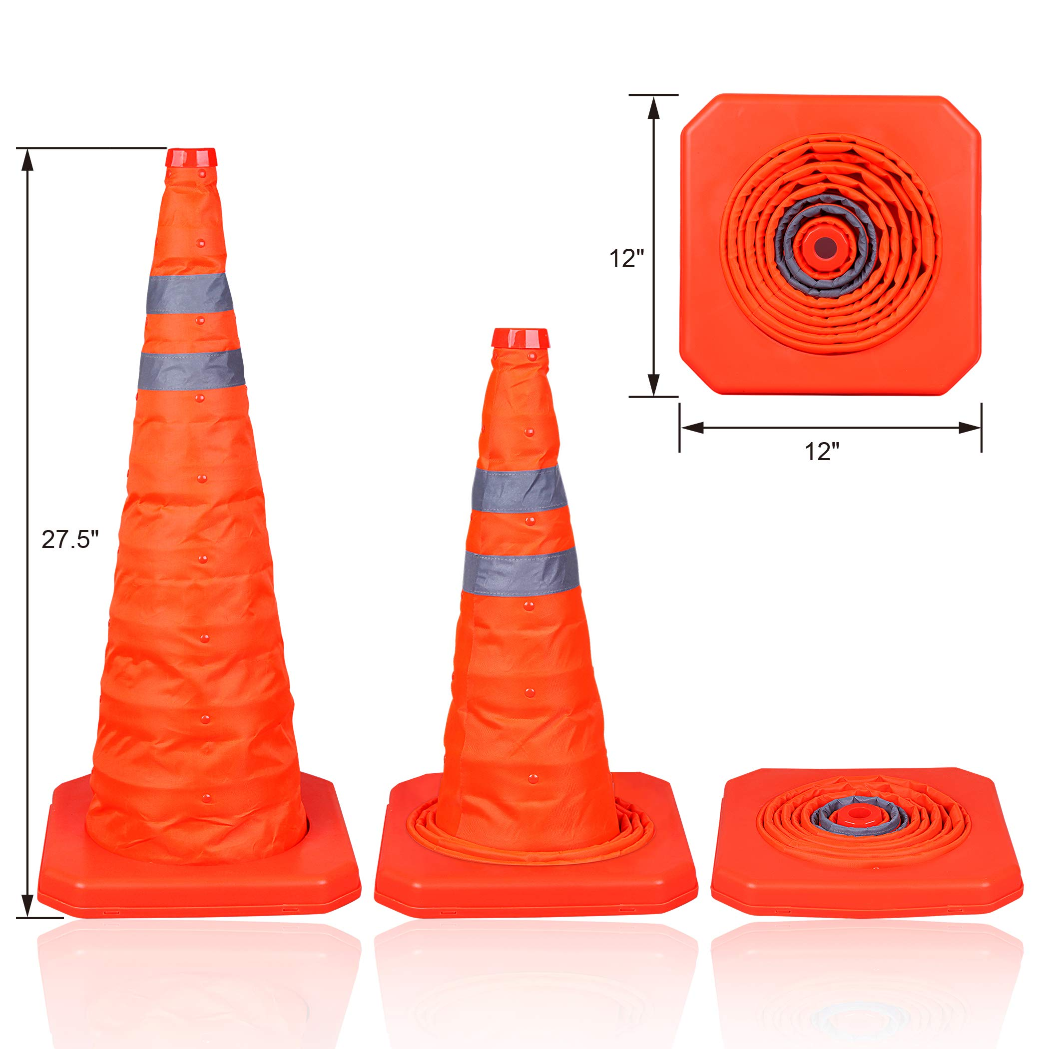 CARTMAN 27.5 inch Collapsible Traffic Cones with LED Light Multi Purpose Pop up Reflective Safety Cone 4PK by CARTMAN (Image #2)