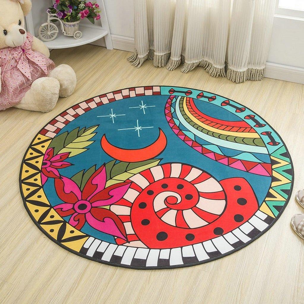 Große blaue Runde Baumwolle getuftet Teppich Rund Kinderzimmer Kinderzimmer oder Interior Rugs (Größe   E160160cm)  E160160cm