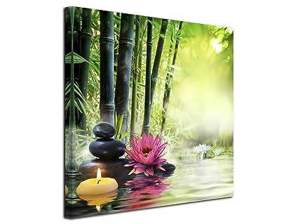 Declina Tableau Bougie Et Galet Sur Forêt De Bambou Imprimée Impression Sur Toile Décoration Murale Zen Déco Maison Cuisine Salon Chambre