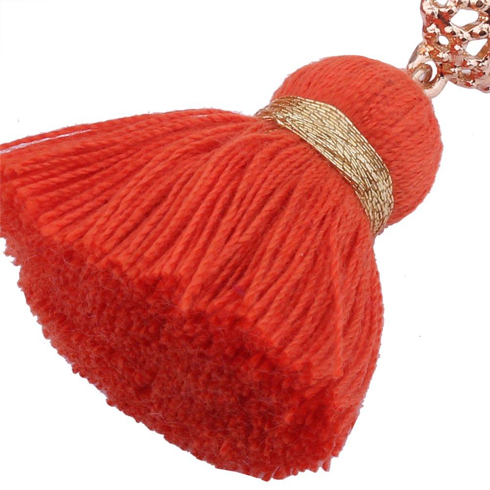Aibelly Bohemian Retro Ethnic Short Tassel Statement Chandelier Dangle Drop Earrings New Fashion Handmade Thread Stud Earrings for Woman Girls by Aibelly (Image #5)