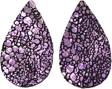 "12pk Leather Med Teardrop Die Cut Glitz Over The Rainbow/""Fashionista/""DIY Earring"