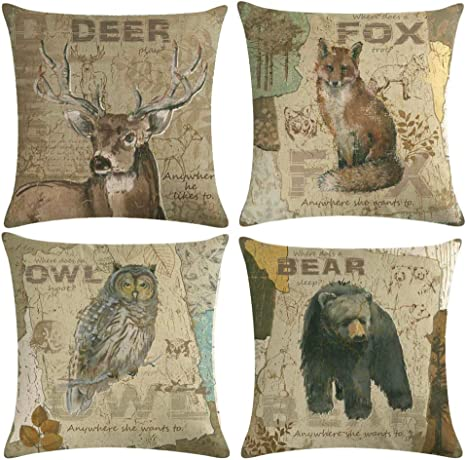 Ulove Love Yourself Vintage Wild Animals Throw Pillow Covers Fox Owl Bear Deer Cushion Covers Wildlife In Forest Mountain Cotton Linen Pillow Cases 18 X 18 Inches 4pack Animals Amazon Ca Home Kitchen
