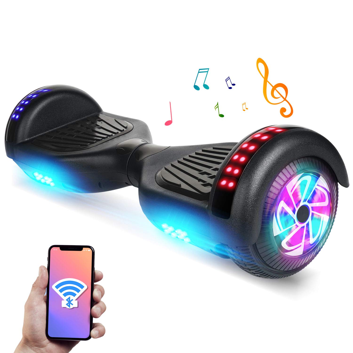 YHR 6.5'' Hoverboard -Self Balancing Scooter 2 Wheel Electric Scooter - UL Certified 2272 Bluetooth W/Speaker, LED Wheels and LED Lights (Black)