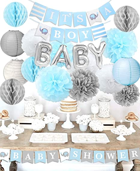 Decoracion De Baby Shower Para Nino.Baby Shower Decorations For Boy It S A Boy Baby Shower With Foil Letter Balloon Baby Blue Bunting