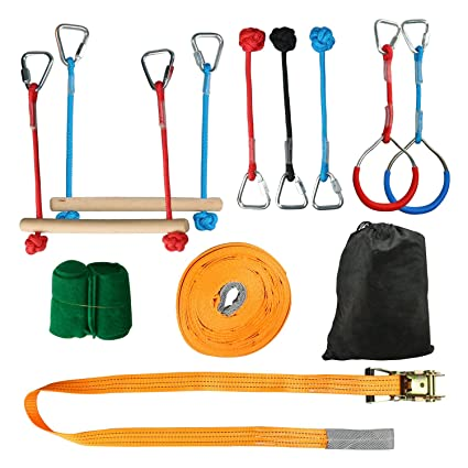 HYDDNice 45FT Portable Slackline Monkey Bar Kit Ninja Training Rope Kids Slackline Hanging Obstacle Course Training Equipment for Kids Backyard ...