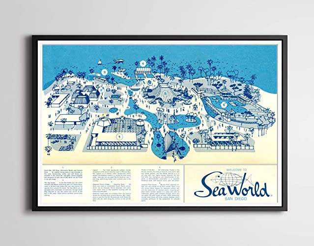 Amazon.com: 1964 SEA WORLD San Diego Opening Year Map POSTER! (up to ...