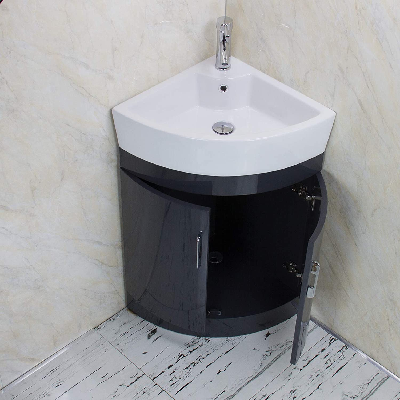 KLARA Bathroom Vanity Unit Cabinet Basin Sink Corner Cloakroom Floor standing Tap Waste