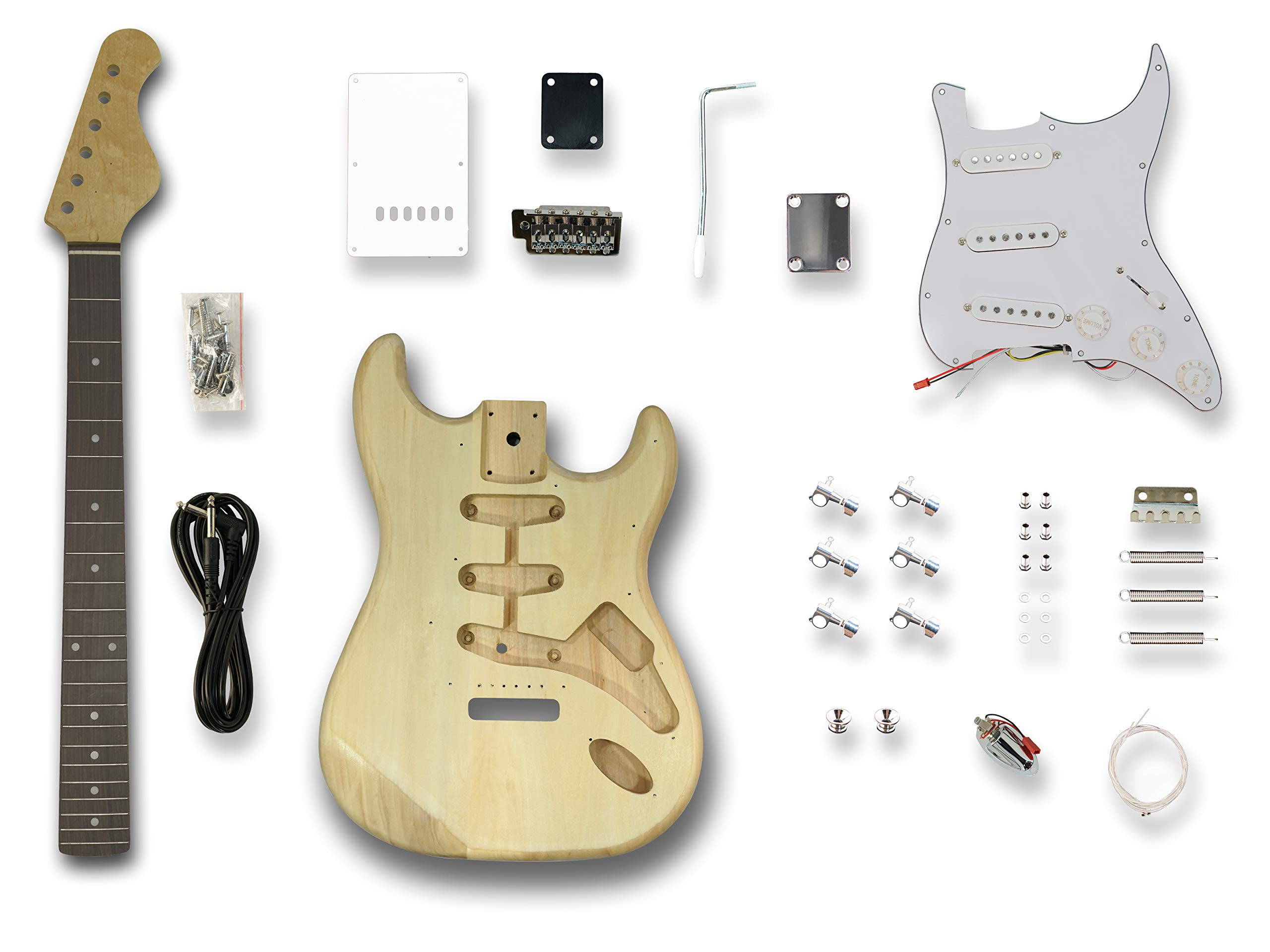 DIY Electric Guitar Kits for Stratcaster Electric Guitar,Poplar wood Body, Linden Veener Top & back