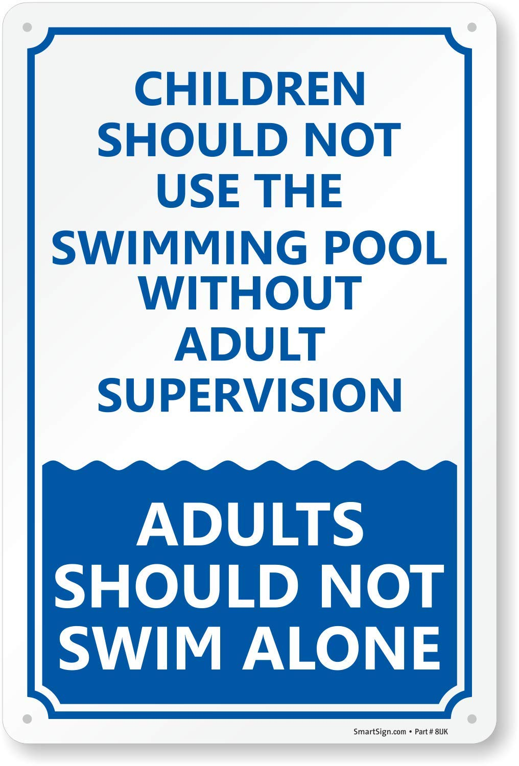 SmartSign ''Children Should Not Use The Swimming Pool Without Adult Supervision'' Sign | 10'' x 15'' Plastic by SmartSign
