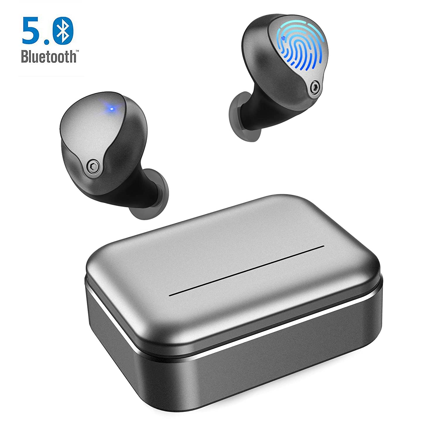 Wireless Earbuds, Bluetooth 5.0 Wireless headphones with 3200mAh Slide Charging Case Auto Pairing with 180hrs Total Play Time IPX5 sweatproof Stereo Bluetooth Earbuds with Built in Mic for Work Sport