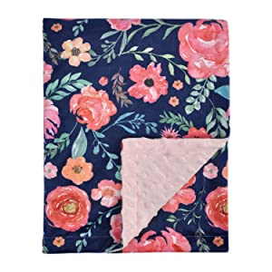 HOMRITAR Baby Blanket for Girls Super Soft Double Layer Minky with Dotted Backing, Elegant Receiving Blanket with Pink Floral Multicolor Printed Blanket 30 x 40 Inch(75x100cm), Navy Blue