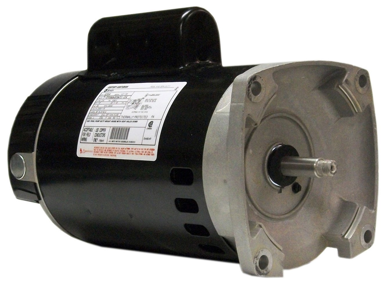 A.O. Smith B2841 1 HP, 3450 RPM, 7.8-7.4/14.8 Amps, 1.65 Service Factor, 56Y Frame, PSC, ODP Enclosure, Square Flange Pool Motor