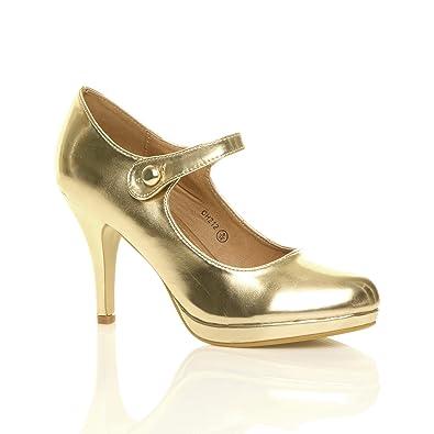 4625e1056ec78 Amazon.com | Ajvani Women's Mid High Heel Mary Jane Strap Evening ...