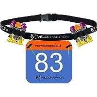 VeloChampion Triathlon Marathon bib Holders for Runners Running Race Number Card Belt 6 Gel Paste Pack Hydration Holder