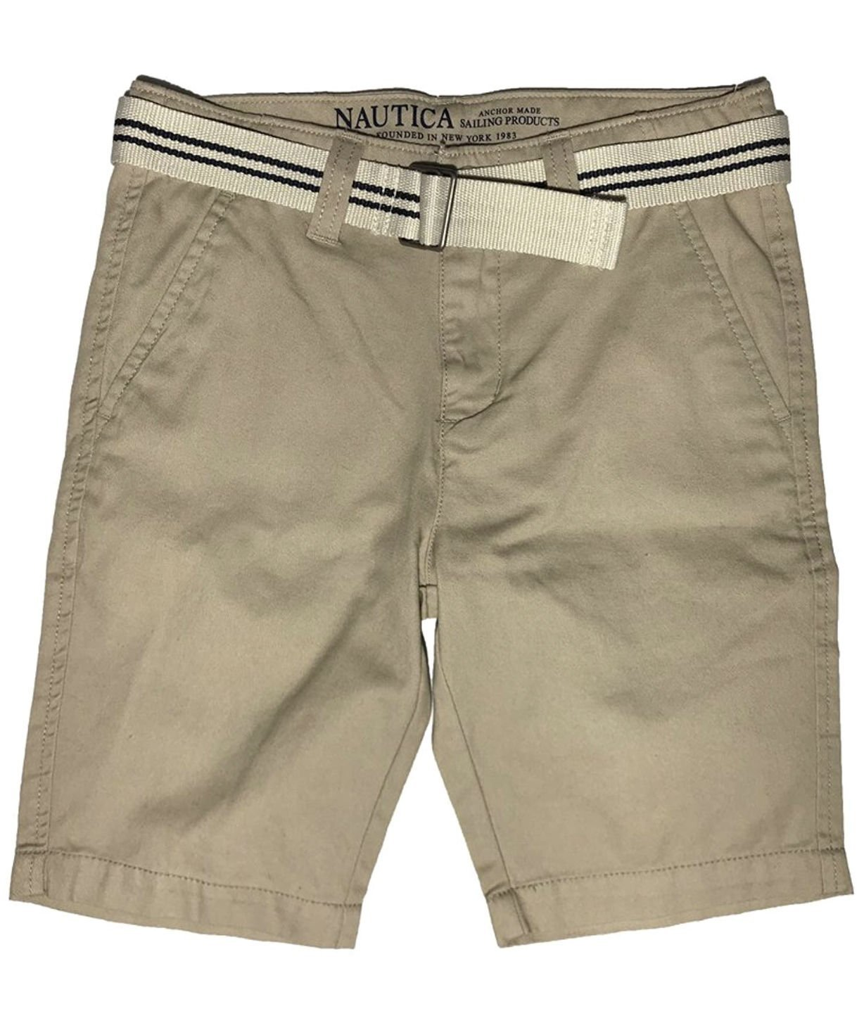 Nautica Boys' Flat Front Belted Shorts (Sand Cove, 8)