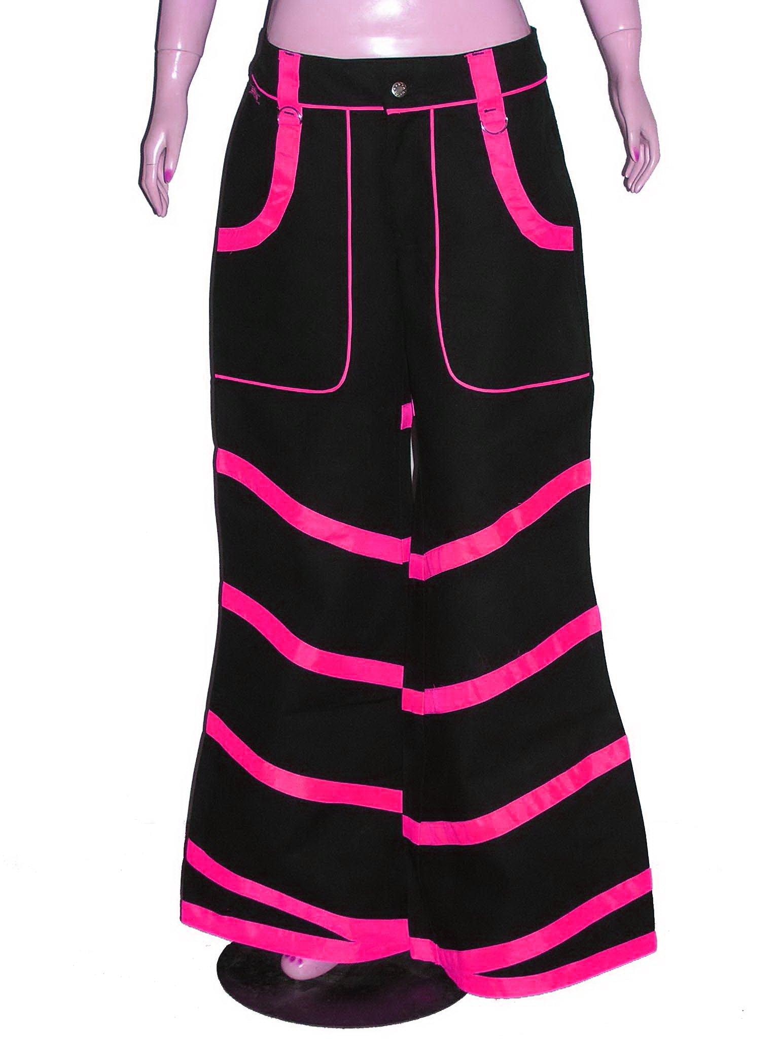 Hot Pink Neon Uv Unisex Baggy Bondage Trousers Skater Cyber Rave Gothic Punk USA by alltofashion