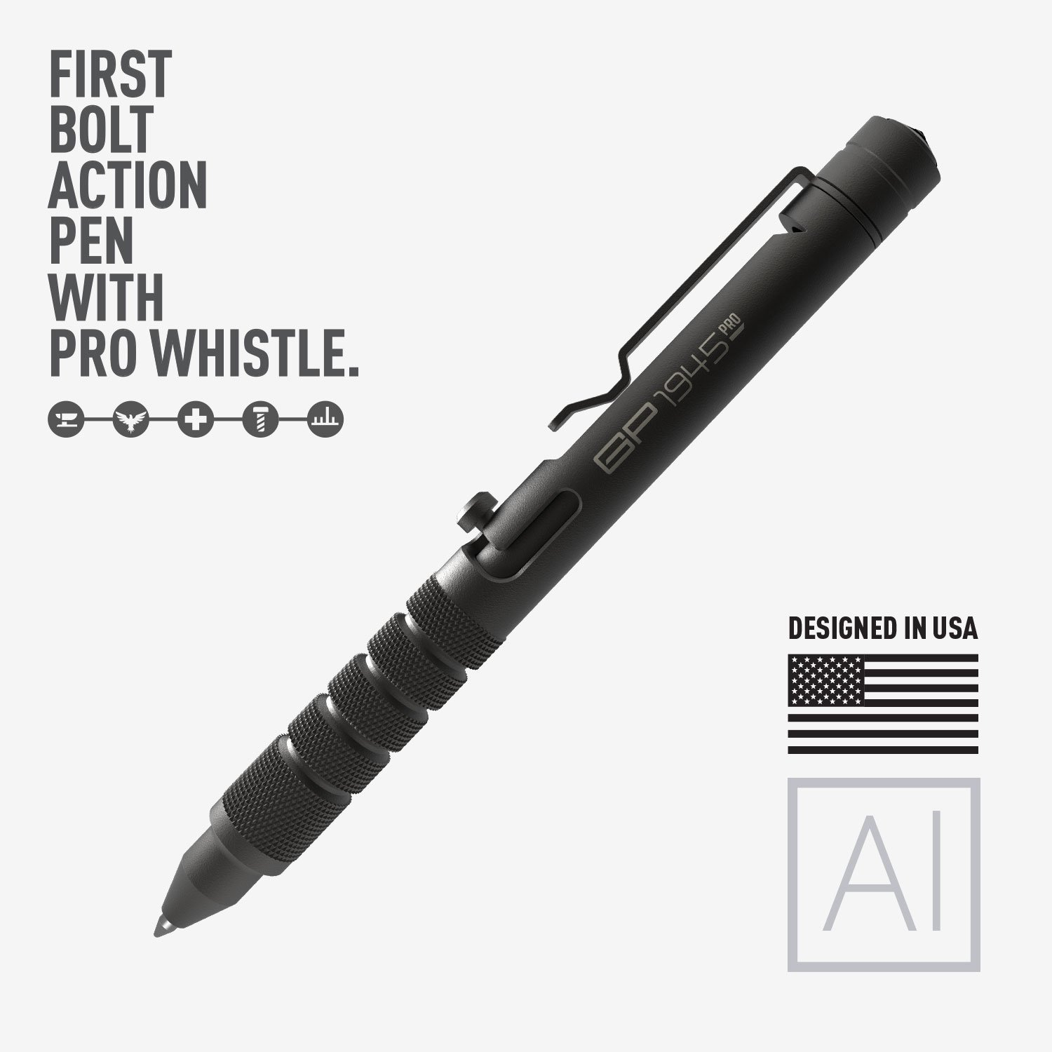 GP 1945 Bolt Action Pen PRO -Machined Titanium/Aluminum, Multi-Tone  Whistle, Breaker Integrated  USA