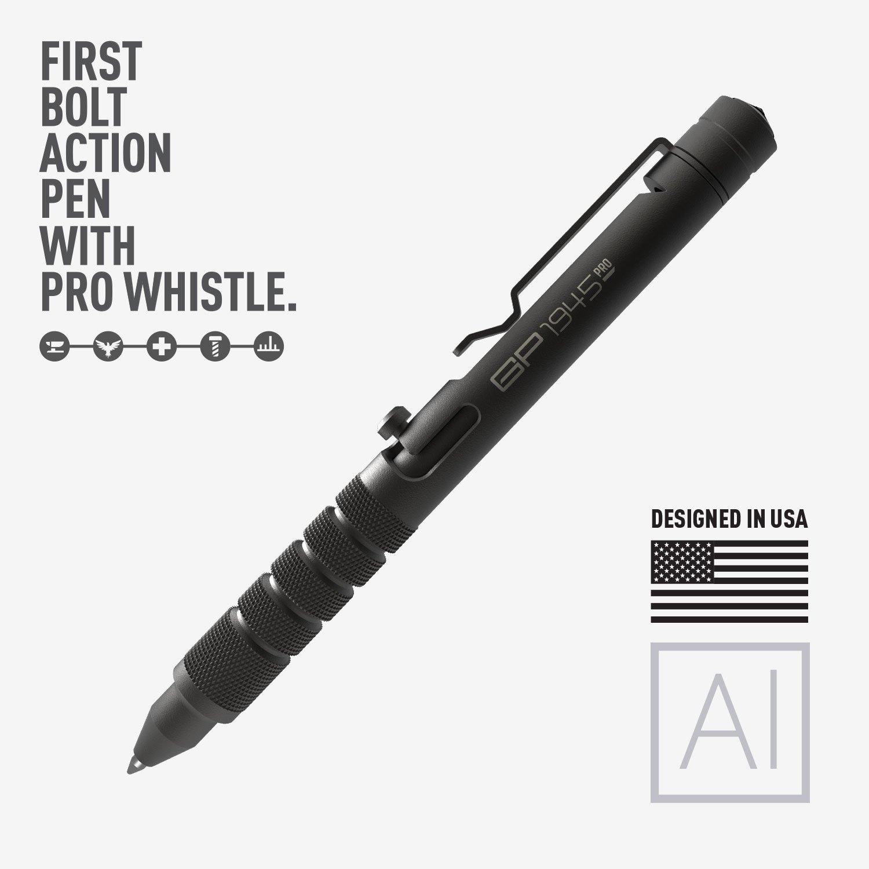 GP 1945 Bolt Action Plus Pen - Machined Aluminum, Multi-Tone Whistle, Glass Breaker Integrated. USA