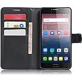 """SMTR Alcatel pop 4s (5.5"""") Coque PU Cuir Flip Housse Étui Cover Case Wallet Portefeuille Supporter avec Carte de Crédit Fentes pour Alcatel pop 4s -Noir"""