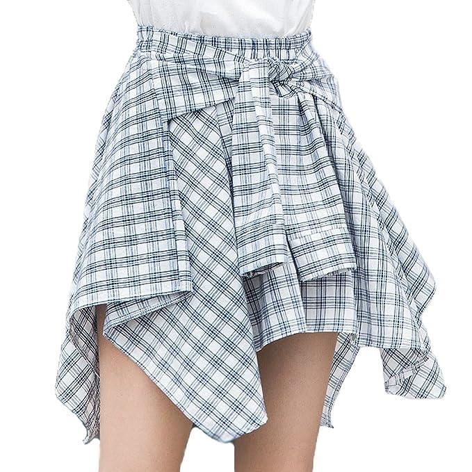 Packitcute Falda a Cuadros Coreano Cintura Alta Cintura Irregular una línea  Faldas Cortas para Mujeres ( 92667e7b5e6b