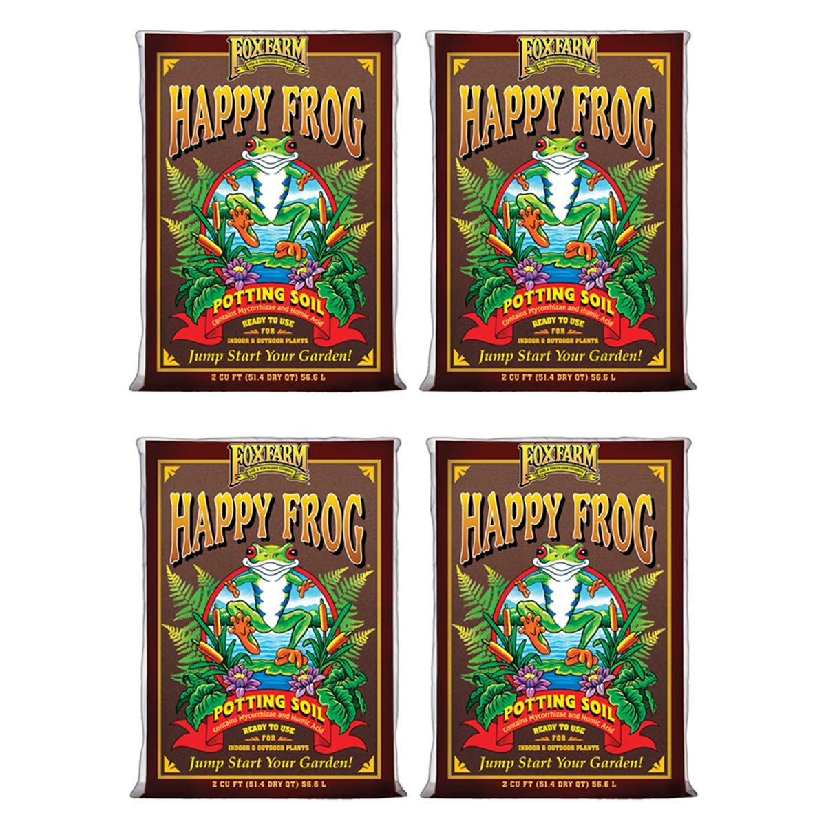 (4) FOXFARM FX14047 pH Adjusted Happy Frog Organic Potting Soil Bags | 8 Cu Ft by Fox Farm
