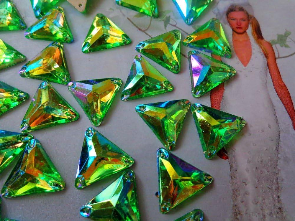 gold 100pcs14mm Triangle Shape Gem Stones Sew on Rhinestones Green Crystals Flatback Dress Accessory