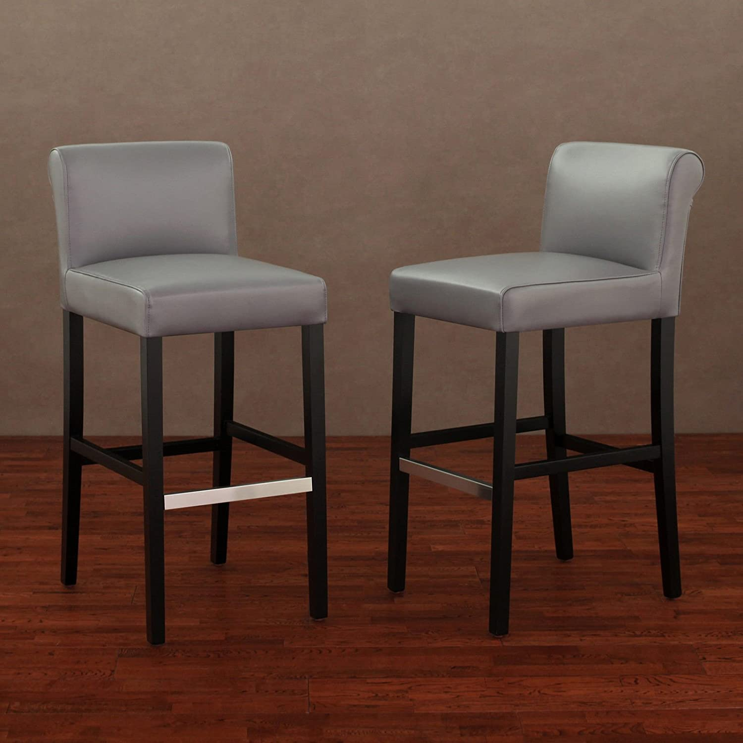 Metro Shop Cosmopolitan Charcoal Leather Barstool (Set of 2)