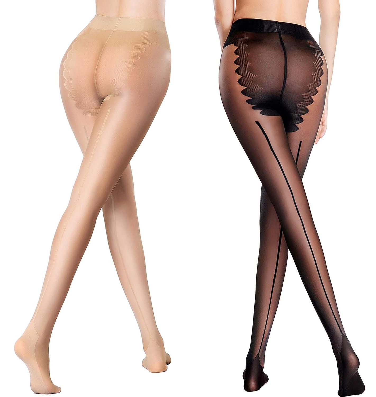 Semi Sheer Pantyhose Back Seam &Bikini Crotch Tights Shaping Leg Stockings 2 Pack