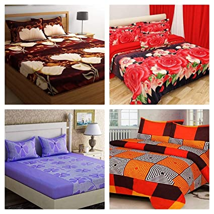 RS Home Furnishing Glace Cotton Double Bedsheet with 8 Pillow Covers (Multicolour) - Combo Set of 4