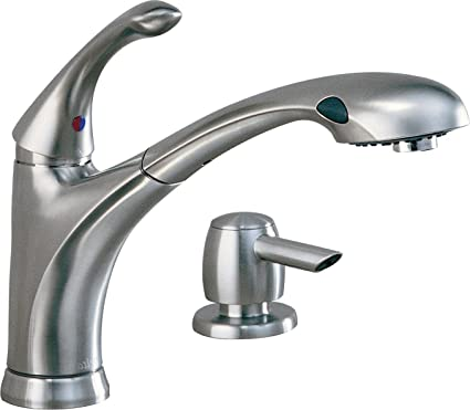Delta 16927 Sssd Dst Debonair Single Handle Pull Out Kitchen Faucet With Soap Dispenser Stainless