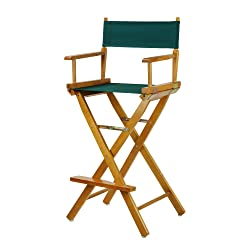 """Casual Home 30"""" Director's Chair Honey Oak Frame-with Hunter Green Canvas, Bar Height"""