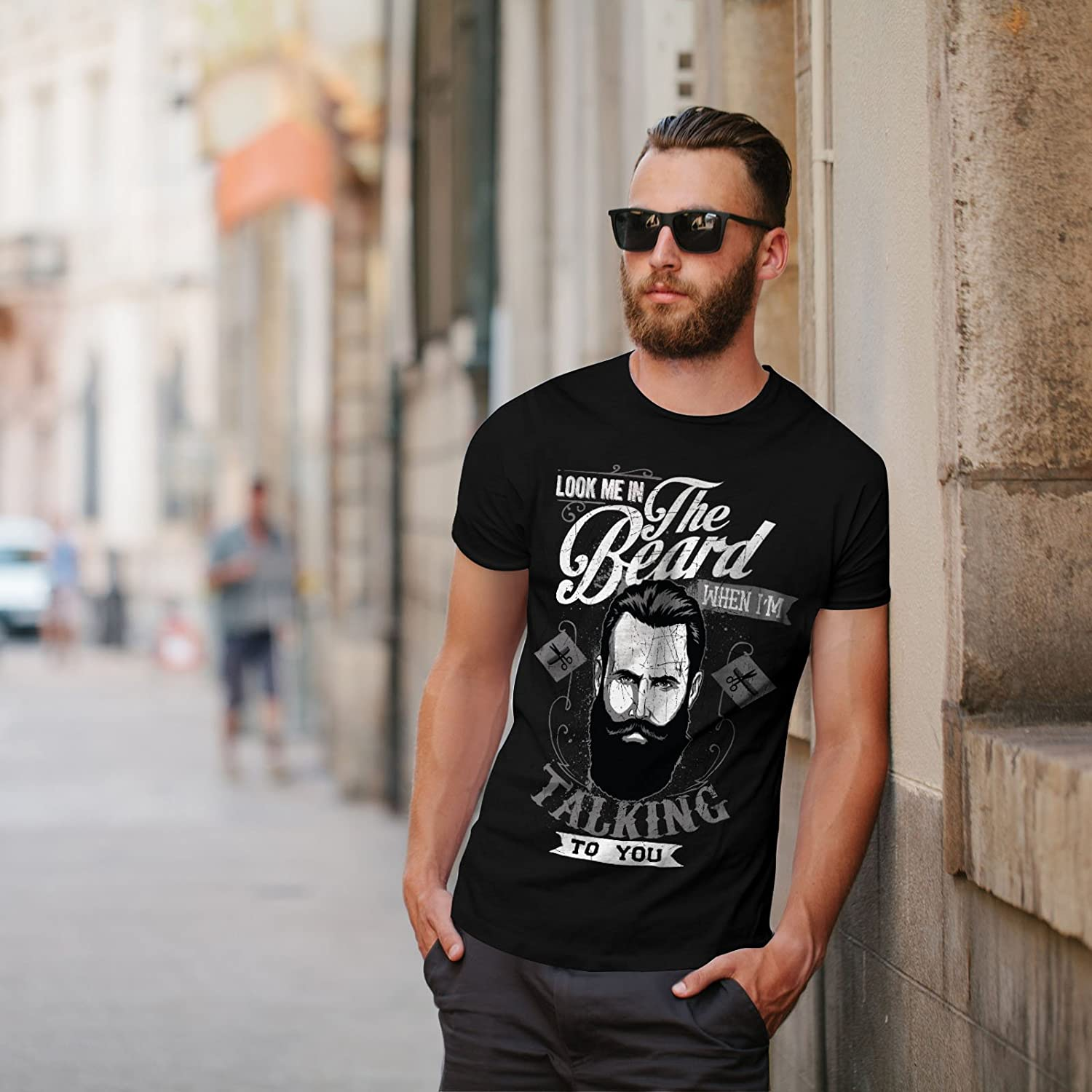a86631efe Wellcoda Look Me in The Beard Mens T-Shirt, When Graphic Design Printed Tee:  Amazon.co.uk: Clothing