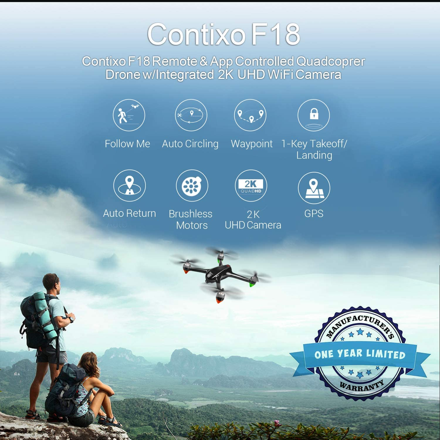 Contixo F18 quadcopter is at #12 for best drones under 300 dollars