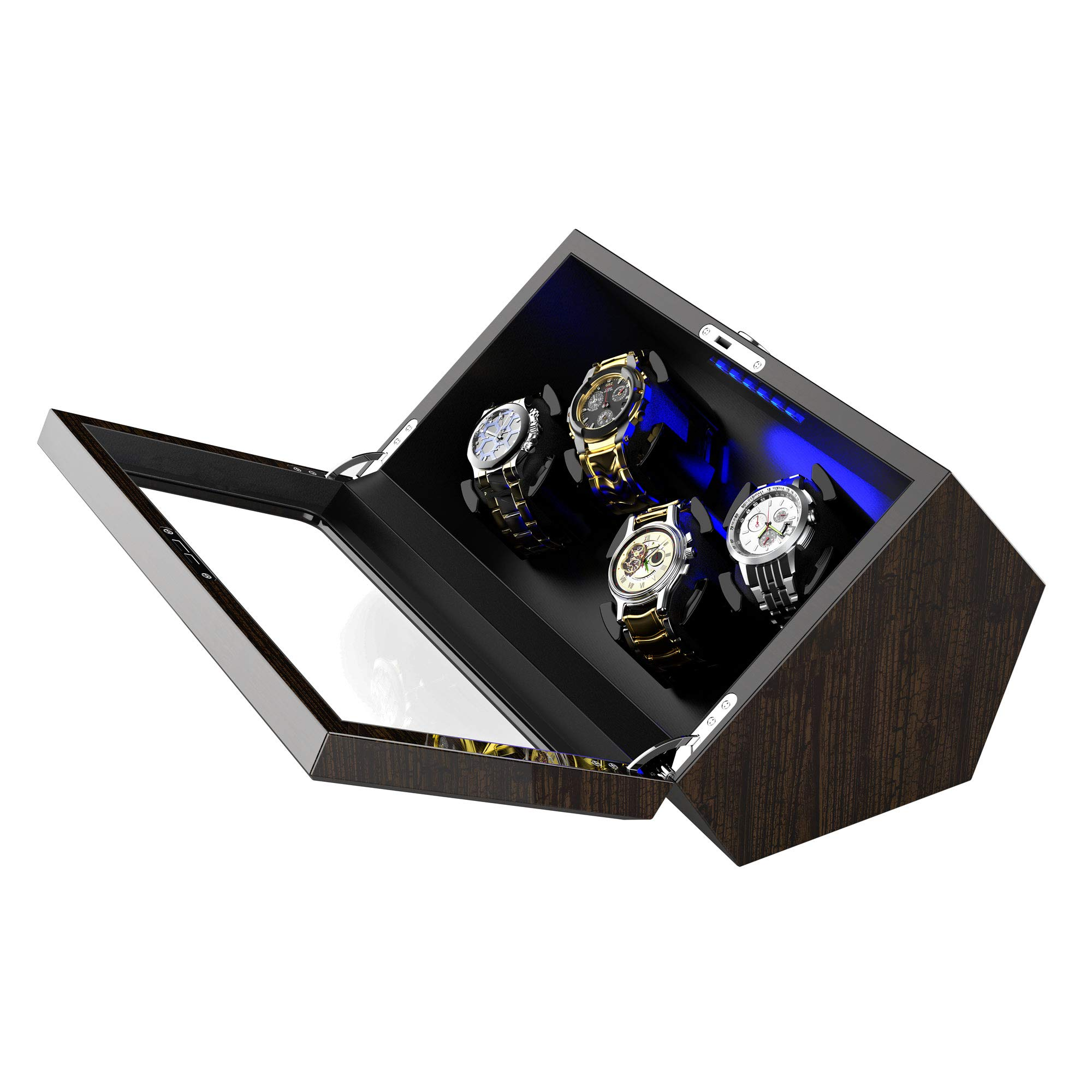 High End Watch Winder for 4 Rolex with Soft Flexible Watch Pillows, Blue Led Light, Open and Shut Down Featured, Pine Bark Pattern,Extra Over Size Watch Pillows Included