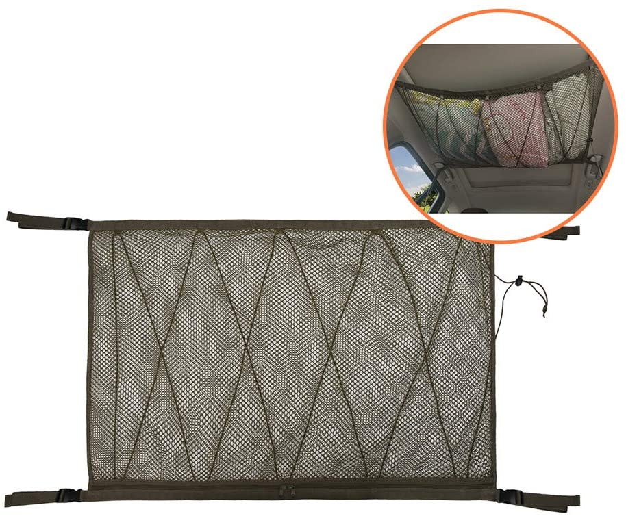 Car Ceiling Cargo Net,Adjustable Sundries Storage Bag Roof Interior Universal Car Ceiling Roof Interior Mesh with Drawstring for SUV Double Mesh and Zipper