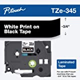 """Brother Genuine P-Touch TZE-345 Tape, 3/4"""" (0.7 mm) Standard Laminated P-Touch Tape, White on Black, Laminated for Indoor or Outdoor Use, Water-Resistant, 26.2 ft (8 m), Single-Pack"""