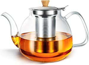 HIHUOS 32oz Glass Teapot with Removable Infuser, Stovetop Safe Tea Kettle, Tea Pot for Blooming, Loose Leaf