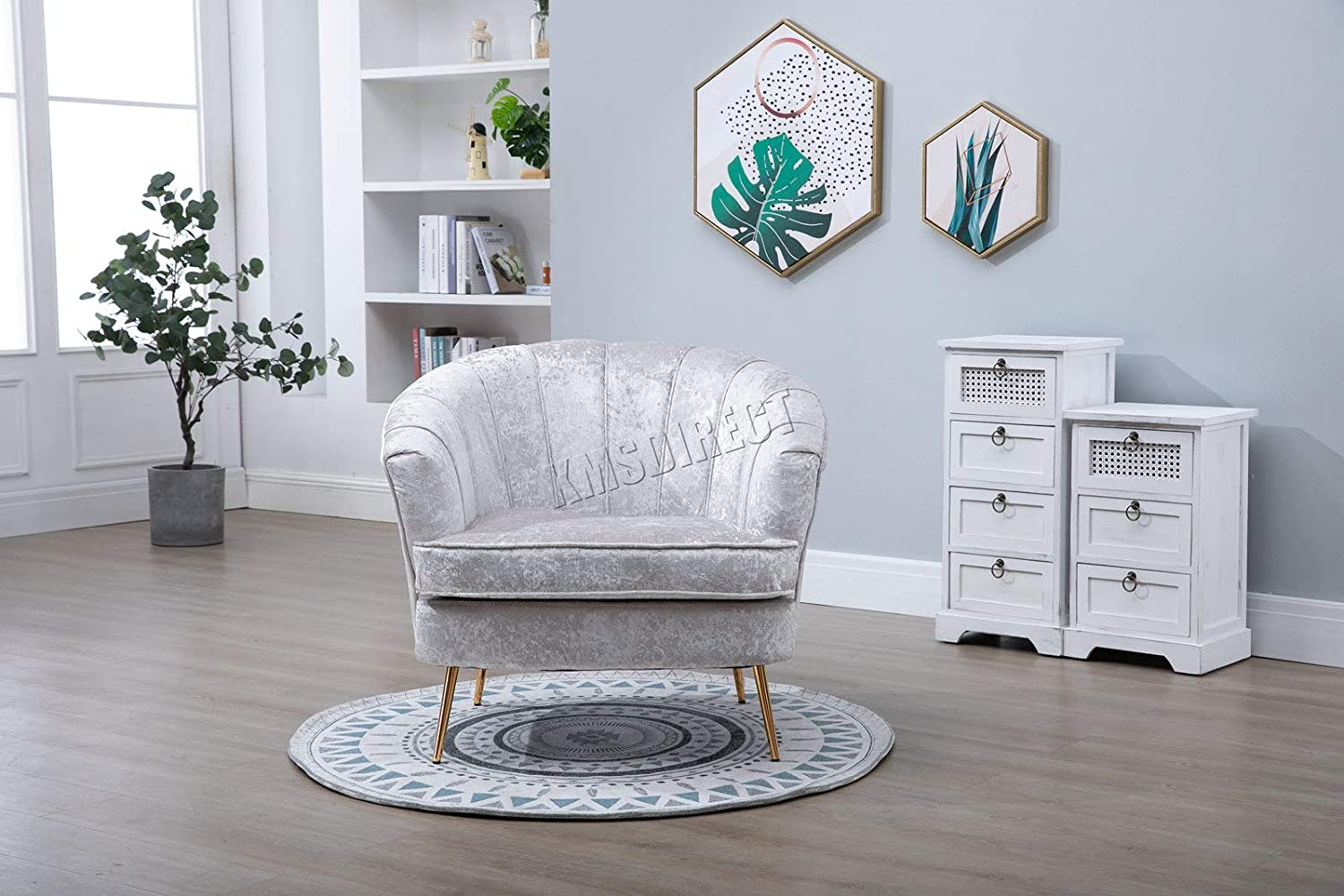 WestWood Armchair Sofa 1 Seater Settee Couch Upholstered Seat Crush Velvet Fabric Tub Chair Home Furniture 8105 Cream