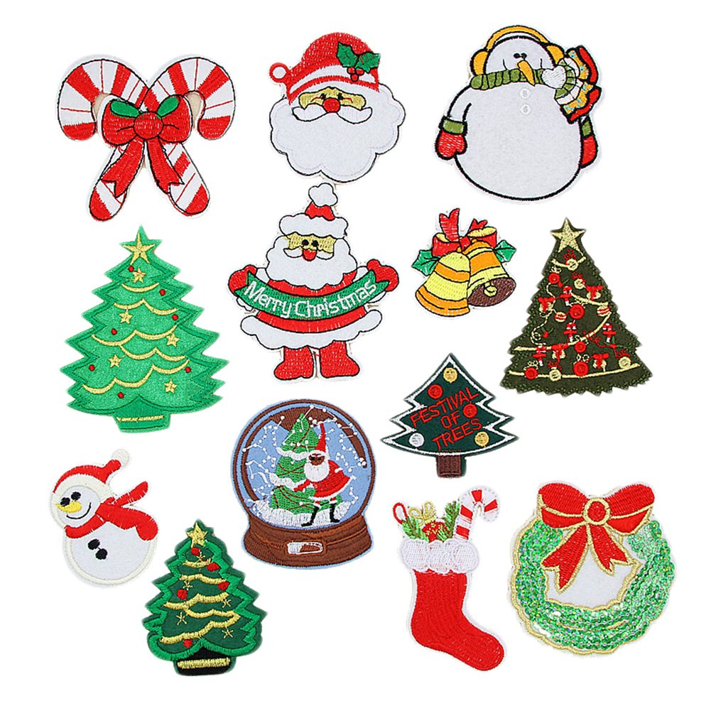 Cdet 1Set Pegatinas de tela de Navidad bordado parche tela pegatina ...