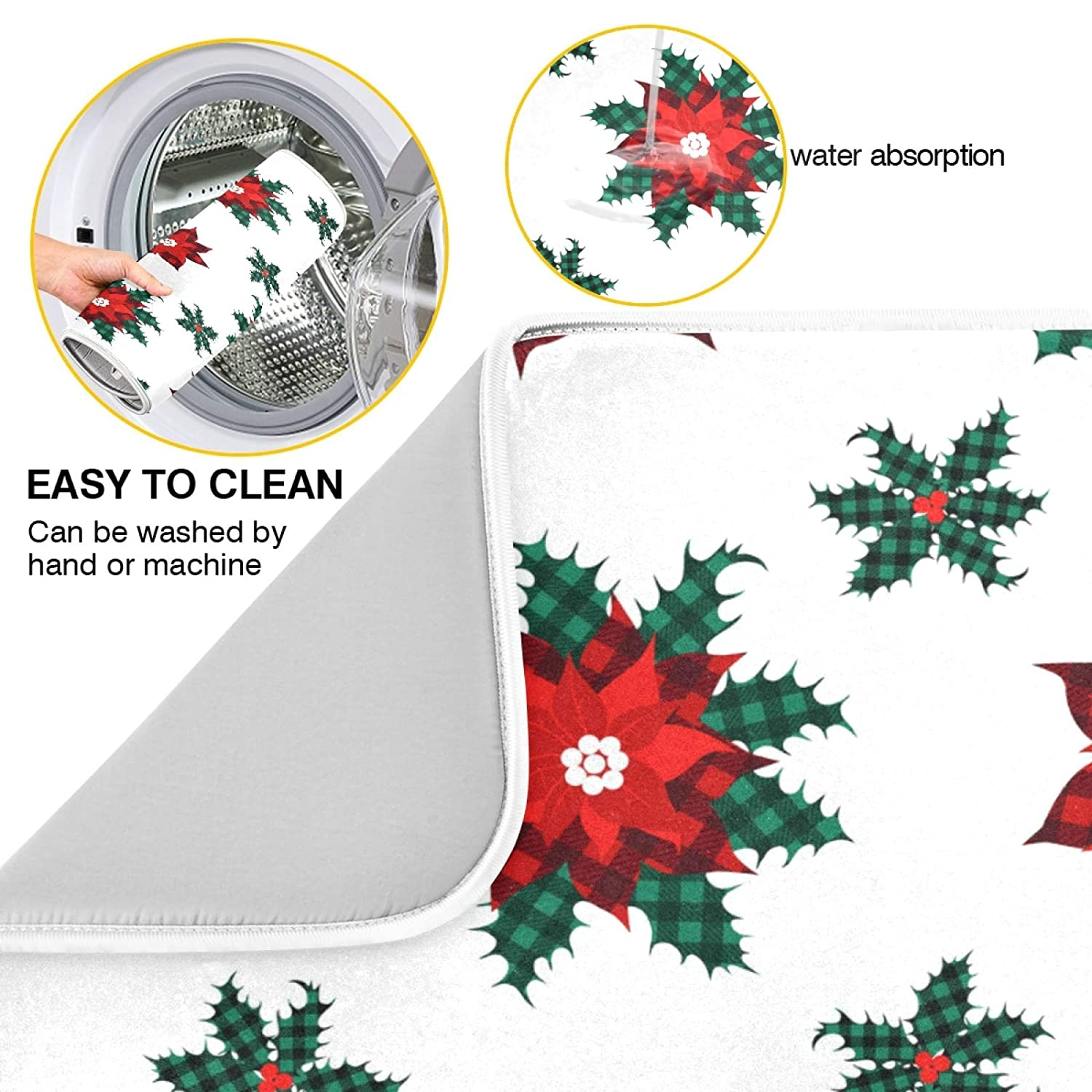 Dish Drying Mats Christmas Floral 18x24 Kitchen Dry Mat,Absorbent Quick Drying Dish Mat Machine Washable 2100079