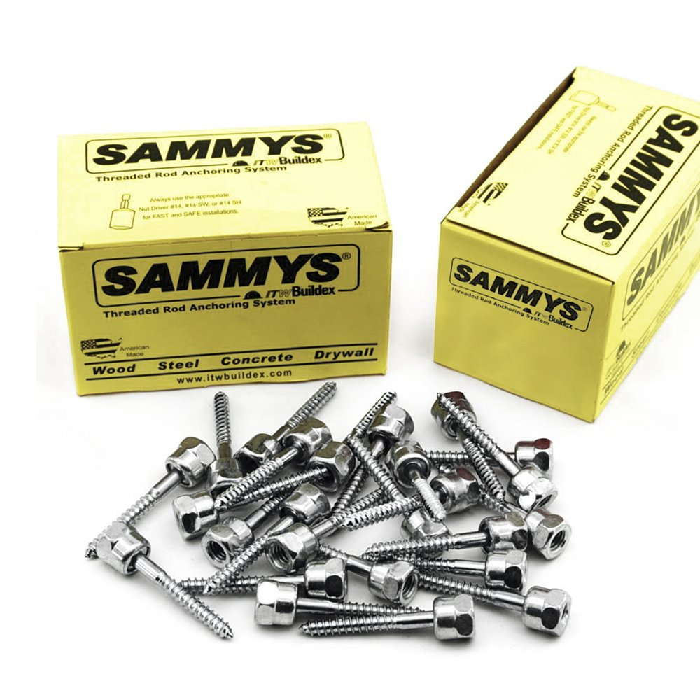 Everflow Sammys 8068925-50 GST 20-SS 3/8 Inch Screw Vertical Threaded Rod Anchor Designed for Wood, Easy to Install, No Pre-Drilling Required, Steel Zinc Finish, 1/4 x 2 Inch Screw Length (Pack of 50)
