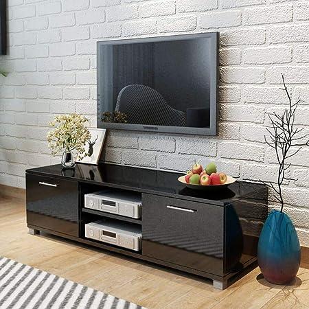 Tidyard Mesa para TV Diseño Moderno Aparador para TV Mueble TV Salón Mesa Televisión Mueble Comedor Televisor Bajo con 2 Repisas 2 Compartimientos con Puertas MDF Negro Brillante 120x40,3x34,7cm: Amazon.es: Hogar